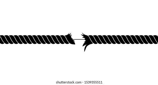 Broken rope vector design illustration isolated on white background