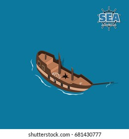 Broken sailer on a blue background. Sailboat in isometric style. 3d illustration of ancient ship. Pirate game. Vector illustration
