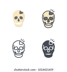 Broken skull bone vector icon