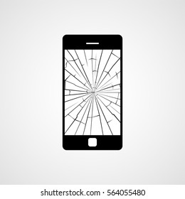 Broken smartphone screen. Vector icon