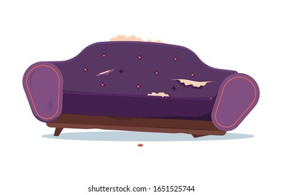 broken sofa. dirty and damaged indoor old furniture messy seat of sofa. vector interior objects in cartoon style