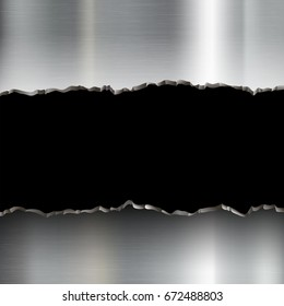 Broken stainless steel plate. Template torn metal. Military and industrial background copy space. Stock vector graphics.