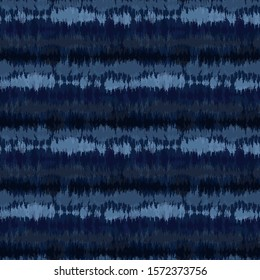 Broken Stripe Shibori Tie Dye Indigo Blue Texture Background. Bleached Handmade Resist Seamless Pattern. Cloth Effect Textile. Classic Japanese or Indonesian All Over Print. Vector Repeat Tile Eps 10