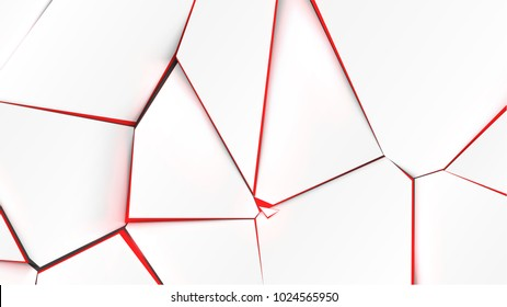 Broken surface with red color in the inside, vector illustration