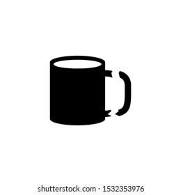 Broken Tea Cup, Destroy Porcelain Mug. Flat Vector Icon illustration. Simple black symbol on white background. Broken Tea Cup, Destroy Porcelain Mug sign design template for web and mobile UI element