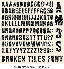 Broken tiles (trencadis) typeset with different solutions for each type