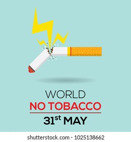Broken tobacco or cigarette stopped smoking concept. Thunderbolt to tobacco. World no tobacco day flat design illustration vector.