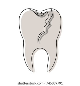 broken tooth with root in watercolor silhouette vector illustration