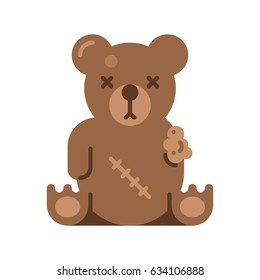 Broken toy bear. Vector flat illustration on white background