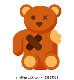 Broken toy bear vector illustration.