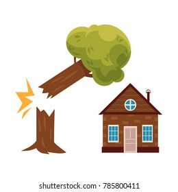 Broken tree falling on cottage house, property insurance concept icon, cartoon vector illustration isolated on white background. Property insurance icon with tree falling on cartoon cottage house