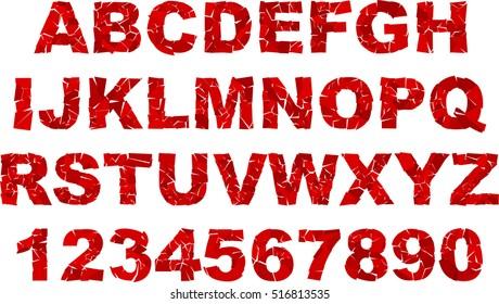 broken uppercase letters font.