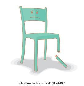 Broken and Upset Chair Illustration