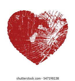 Broken Valentine Heart. Damaged Glass Love Symbol. Icon, Logo or badge template. EPS10 vector illustration.
