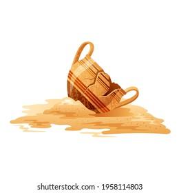 Broken Vase. Ancient jar vector. Old greek pot. Cartoon clay pottery icon. Ancient jug excavations. Museum earthenware ceramic. Urn or vase isolated. Cracked greek pitcher.  Artifact vector