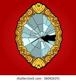 Broken vintage mirror pop art style vector illustration. Comic book style imitation