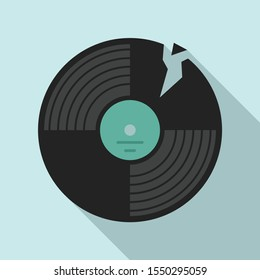 Broken vinyl disc icon. Flat illustration of broken vinyl disc vector icon for web design