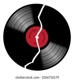 A broken vinyl record with red label isolated on a white background