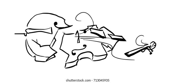 the broken violin, graphic arts, black and white sketch, drawing, vector,  graphic arts