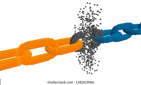 Broken voxel chain. Blockchain concept. Isolated on white background. 3d Vector illustration.