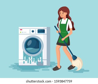 Broken washing machine isolated on background. Damaged washer with flowing water. Electronic laundry equipment for housekeeping need repair. Girl washes floor with mop and bucket Vector cartoon design