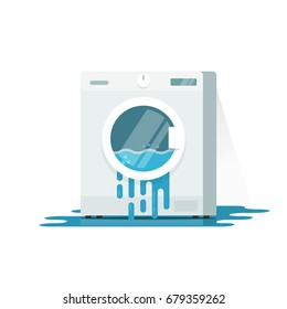 Broken washing machine vector illustration, flat cartoon damaged washer with flowing water on floor need repair isolated on white background