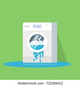 Broken washing machine from which water flows. Calling the master. Flat isolated illustration.