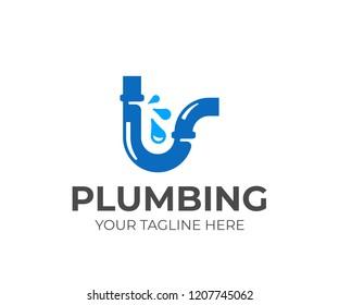 Broken water pipe logo design. Plumbing vector design. Leaking water logotype