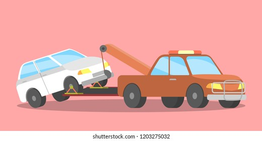 Broken white car on the tow truck. Roadside assistance service. Woman calling to the repair service. Flat vector illustration
