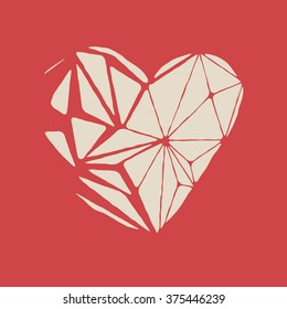 Broken white heart on a red background. Low poly heart shape. Vector illustration.