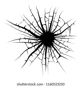 broken window, cracks hole vector design isolated on white background