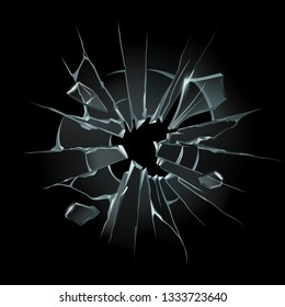 Broken window glass. Broken windshield, shattered glass or crack windows. Shards of computer screen or cracked shattered mirror. Bullet hole 3D isolated vector illustration set