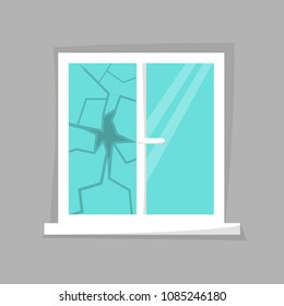 Broken window icon isolated. Cartoon damaged window. Beaten windowpane concept. Eps 10