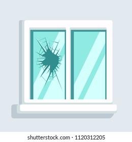 Broken window icon isolated. Simple cartoon vector illustration. Broken windows theory concept.