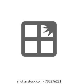 Broken window icon vector