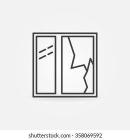 Broken window icon - vector minimal broken glass pane sign or symbol in thin line style