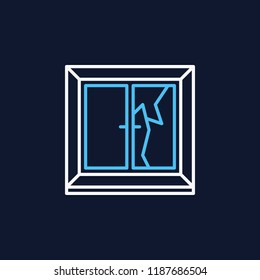 Broken window linear colorful icon - vector cracked window sign or logo element in thin line style on dark background