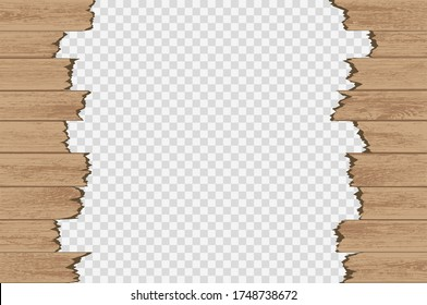 Broken wood panels isolated on a transparent background. Vector illustration