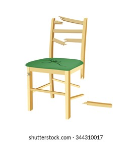 Broken wooden chair with green seat.