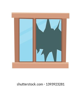 Broken wooden window on a white background. Flat vector illustration.