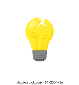 broken yellow light bulb in flat style, vector