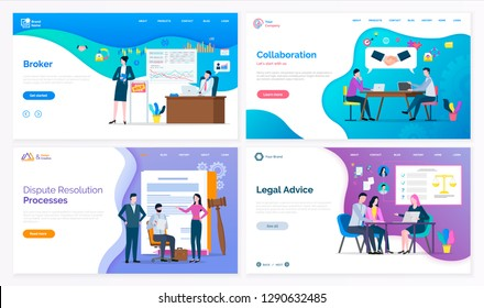 Broker and collaboration, dispute resolution processes and legal advice vector. Lawyer and judicial workers, graphics and laws on presentation board. Website or webpage template, landing page in flat