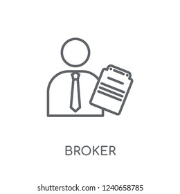 Broker linear icon. Modern outline Broker logo concept on white background from business collection. Suitable for use on web apps, mobile apps and print media.