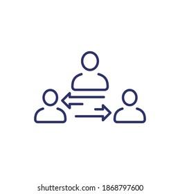 broker or mediator line icon on white