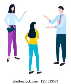 Brokers and hucksters, collaboration of colleagues. Stockbrokers or bill-brokers isolated. Vector arguing man and woman discussing business issues