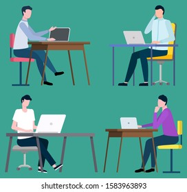 Brokers sitting at computers and working on notebooks. Vector stockbrokers middlemans sitting at tables with computers and buys and sells goods or assets