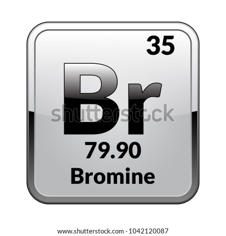 Bromine Symbol Chemical Element Periodic Table On Stock Vector