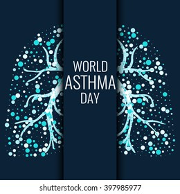 Bronchial asthma awareness poster with lungs filled with air bubbles on dark background. Healthy respiratory system concept. Vector illustration.