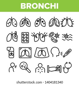 Bronchitis, Allergic Asthma Symptoms Vector Linear Icons Set. Bronchi, Respiratory Disease. Lungs, Human Internal Organs Outline Symbols Pack. Cough Treatment Isolated Contour Illustrations