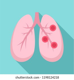 Bronchitis lungs icon. Flat illustration of bronchitis lungs vector icon for web design